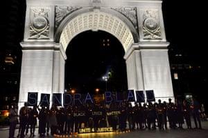 Protest at Washington Square Park, New York.