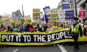 The mayor of London, Sadiq Khan, leads the Put It to the People march in London on 23 March 2019 in London.