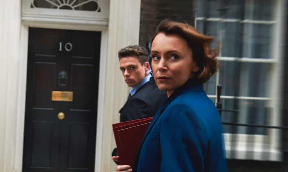 Actors Keeley Hawes, as home secretary, and Richard Madden, as her protection officer, in the drama series Bodyguard.