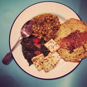 Peanut and dill dal, saag 'paneer' with tofu.