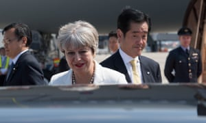 Theresa May arrives in Kyoto for a three day visit to Japan
