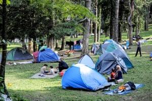 Migrant tents are seen at a park, located near Croatia's border in Bihać, Bosnia-Herzegovina