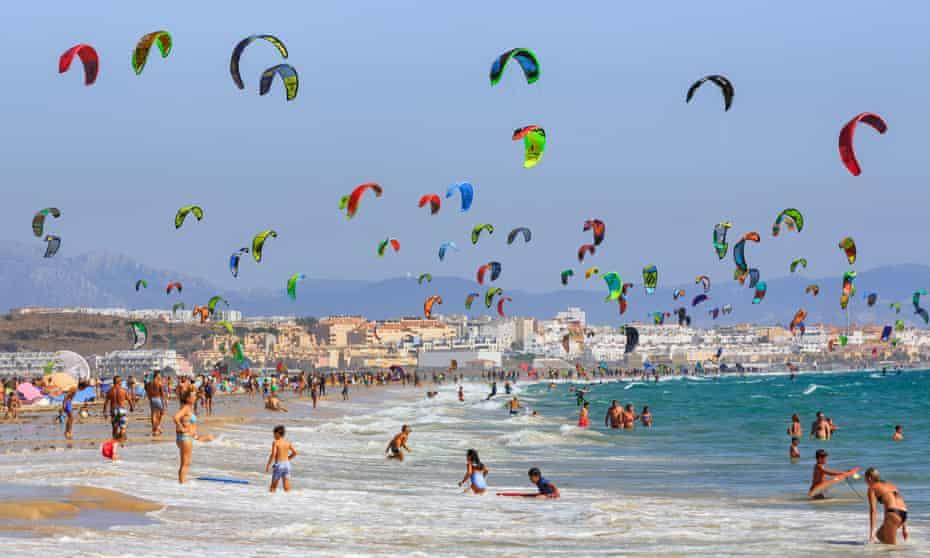 kitesurfing on Tarifa beach.