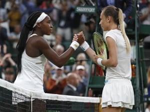 Cori Gauff, left, greets Magdalena Rybaikova at the net after winning their match.