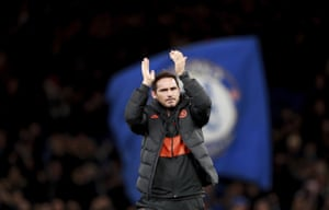 Frank Lampard applauds the supporters at the end of the match.