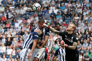West Bromwich Albion's Salomon Rondon receives a punch in the face as Liverpool's Loris Karius attempts to clear during the 2-2 draw at The Hawthorns.