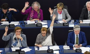 Members of the European parliament vote on the European copyright reforms.