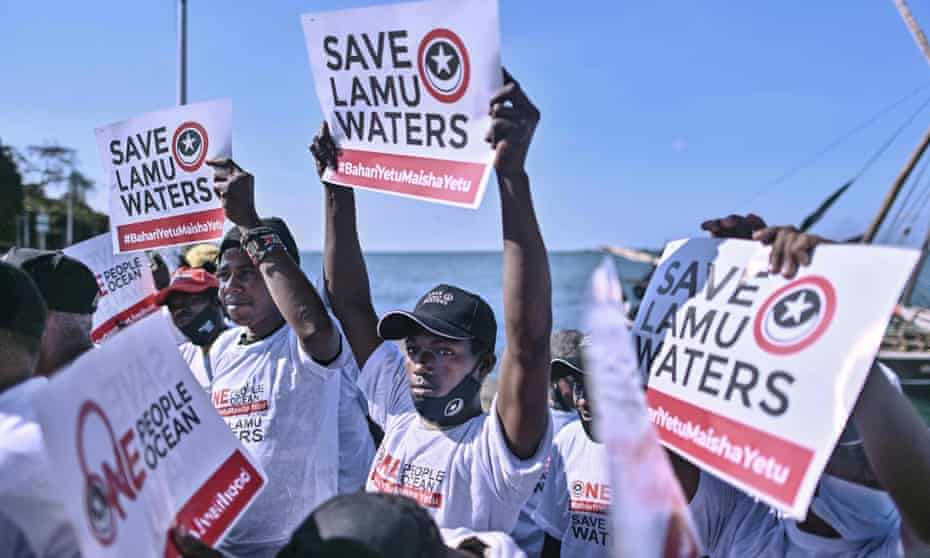 Kenyans on Lamu island in March calling for their fishing rights to be respected in the seven-year legal battle between Kenya and Somalia over the countries' maritime demarcation in the Indian Ocean.