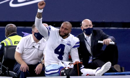 Dak Prescott is carted off the field after his injury on Sunday
