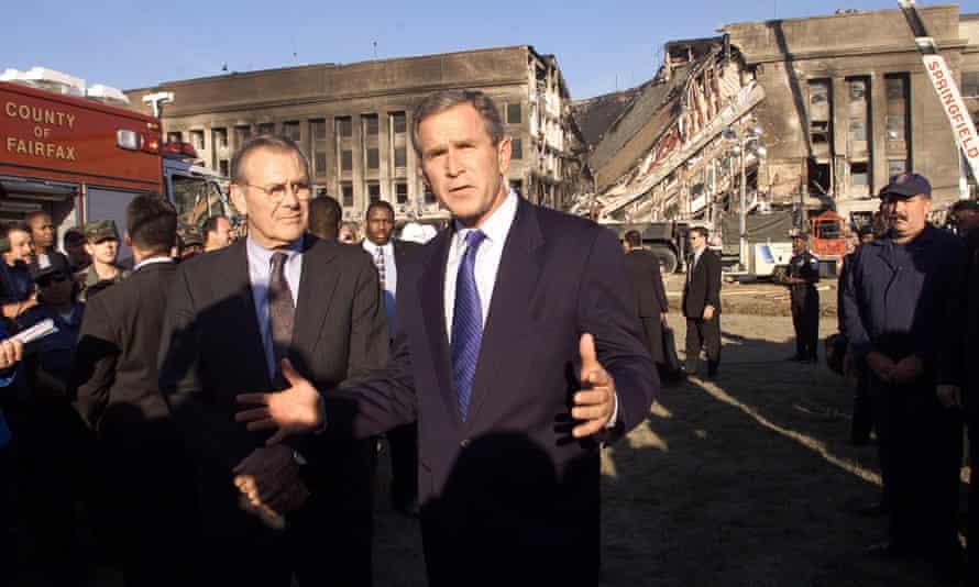 Donald Rumsfeld and Bush visit the Pentagon, Washington DC, 12 September 2011.