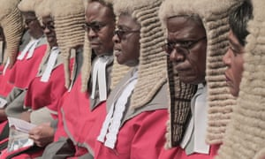 Supreme court judges look on as Emmerson Mnangagwa is sworn in as Zimbabwe's president at a ceremony in Harare in November 2017