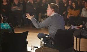 Owen Jones speaking at a Momentum meeting