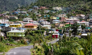 Soufrière village, ascending up a hillside