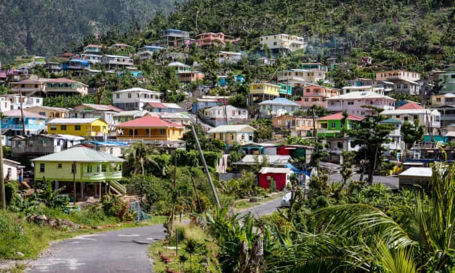 Soufrière village, ascending up a hillside