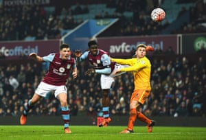 Ciaran Clark, left, heads Aston Villa into the lead.