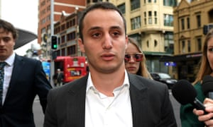 Luke Lazarus leaves the Downing Centre district court in Sydney, 4 May 2017.