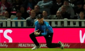 Sussex Sharks' Phil Salt catches out Worcestershire Rapids' Moeen Ali.