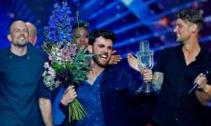 Eurovision winner Duncan Laurence celebrates in Tel Aviv.