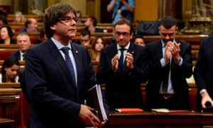 Carles Puigdemont in the Catalan parliament in September 2016, before he was ousted by the Spanish government