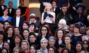 Cate Blanchett reads a statement at the Cannes 5050x2020 protest.