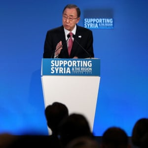 London Syria ConferenceUN Secretary-General Ban Ki-moon speaks as Prime Minister David Cameron (left) looks on during the 'Supporting Syria and the Region' conference at the Queen Elizabeth II Conference Centre in London.