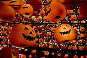 Shenyang, ChinaPumpkin lanterns light up the street to mark the approach of annual Halloween festivities in the capital city of Liaoning province, north-east China