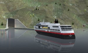 A computer-generated image of a ferry approaching the entrance of a tunnel for ships.