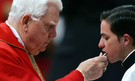 A US cardinal, Bernard Law, in 2005. Law was forced to resign over sexual abuse scandals in his Boston archdiocese