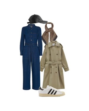 Helen Seamons, men's fashion editor: 'Keep it casual in a trench and trainers.' Trench, £79.99, zara.com. Jumpsuit, £159, whistles.com. Leather cap, £69, arket.com. Silk scarf, £65, Lescarf, and trainers, £90, Adidas, both from matchesfashion.com
