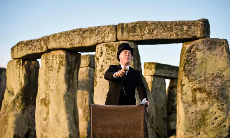 Re-enacting the sale of Stonehenge, originally in a Salisbury theatre, on 21 September 1915. Simon Kirk plays auctioneer Sir Howard Frank.