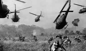 US Army helicopters cover the advance of South Vietnamese ground troops north of Tay Ninh, Vietnam, March 1965