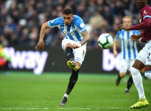 Karlan Grant of Huddersfield scores one of his three goals from six Premier League appearances.