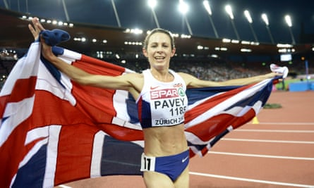 Keep on running: Jo Pavey after winning the 10,000m at the European Athletics Championships in Zurich in 2014 when she was 40.
