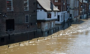The River Ouse floods riverside paths in York on Thursday.