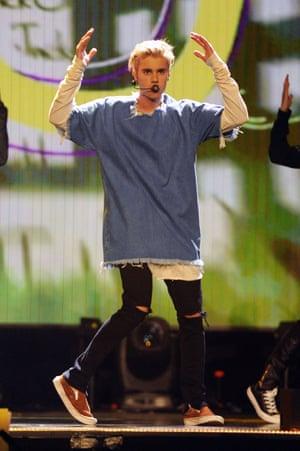 Justin Bieber at the BBC Radio 1 Teen Awards in London.