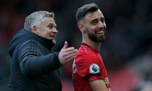 Solskjær with Bruno Fernandes, the new midfielder who has made a big impact