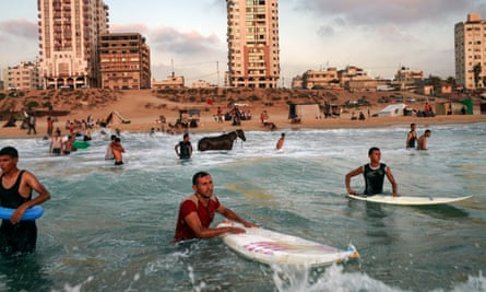 A scene from Gaza … surfers