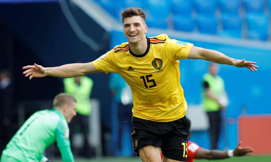 Thomas Meunier celebrates after opening the scoring for Belgium early on.