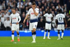 Tottenham's Fernando Llorente reacts after conceding their first goal scored by Ajax's Donny van de Beek.