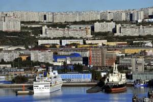 The seaport in Murmansk, Russia.