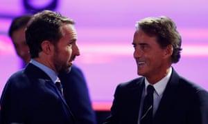 Gareth Southgate with Italy coach Roberto Mancini.
