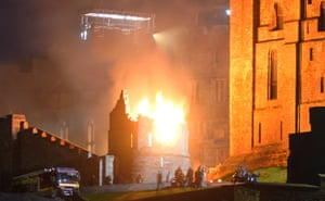 A movie set in Northumberland is put on fire as part of filming for Indiana Jones 5, starring Harrison Ford