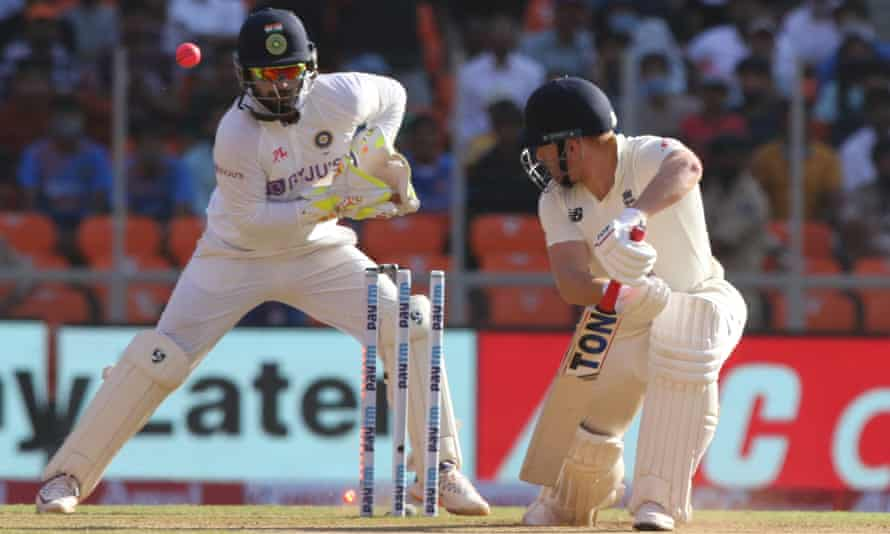 England's Jonny Bairstow is bowled by Axar Patel on day two of the third Test