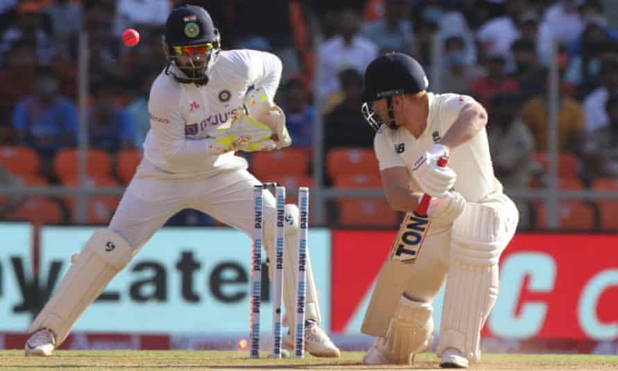 England's Jonny Bairstow is bowled by India's Axar Patel.
