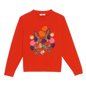 red sweatshirt with embroidered flowers on front, orange pink blue yellow green