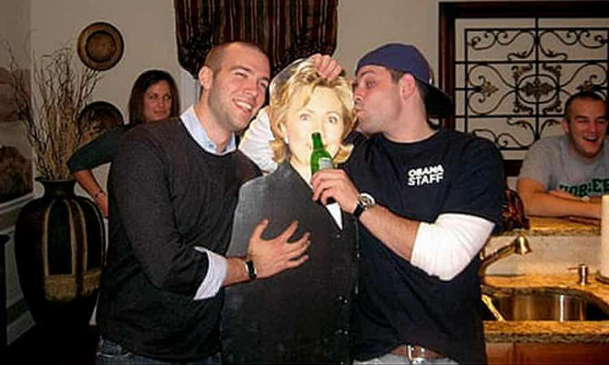 'I hear my hair looks great' … Obama speechwriter Jon Favreau's inappropriate moment with a Hillary cutout.
