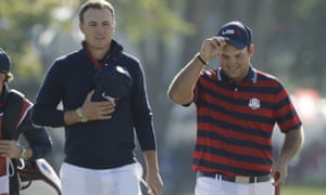 Reed, right, with Jordan Spieth during the 2016 Ryder Cup. Spieth has spoken of an exchange between Reed and Tiger Woods during the competition