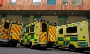 Ambulances wait outside Bristol Royal infirmary