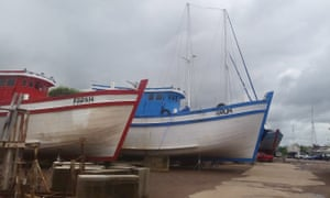 A fake fishing boat, made to look like those commonly seen around south-east Asia, in dry dock in Darwin.