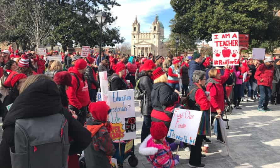 Teachers and supporters protest in Richmond, Virginia on Monday.
